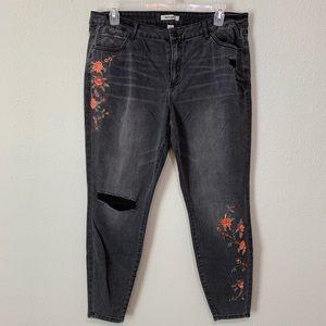 Refuge+ Embroidered Distressed Skinny Jean